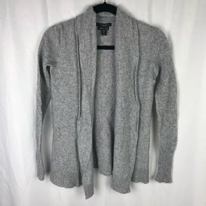 Tahari Light Gray 100% Cashmere Cardigan Sweater